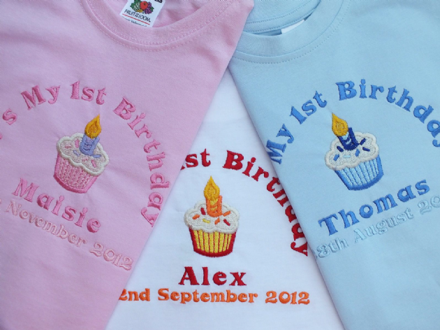 bbec288d2221c Personalised 1st First Birthday long sleeve t-shirt cupcake design can add  date